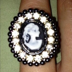 Anthro Cameo Statement Ring with CZs, Size 7